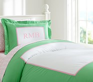 Claudia Pieced Duvet Cover, Full/Queen, Green/Pink