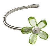 Crystal Flower Holdback, Set of 2, Green