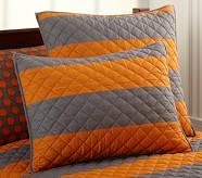 Rugby Stripe Standard Quilted Sham, Orange/Gray