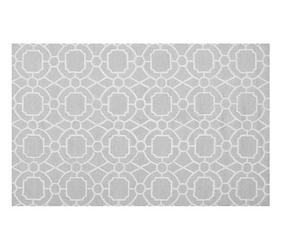 Preppy Trellis Rug, 3x5' Gray