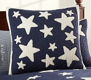 Star Quilted Sham, Euro, Navy