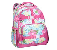 Mackenzie Aqua Hibiscus Large Backpack
