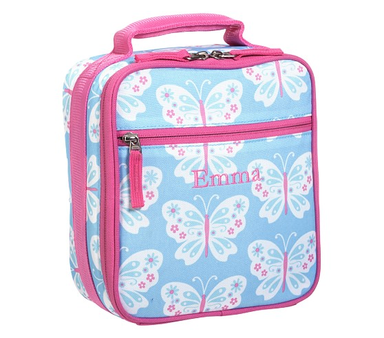 Mackenzie Aqua Butterfly Classic Lunch Bag