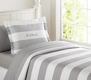 Rugby Stripe Duvet Cover, Twin, Light Gray