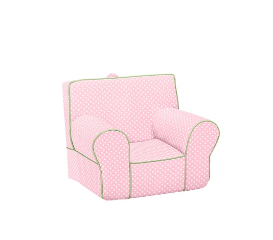 Mini Dot Anywhere Chair® Slipcover Only, Light Pink with Green Piping Mini Dot
