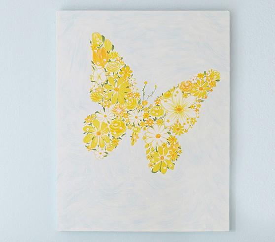 Butterfly Flower Plaque, Aqua