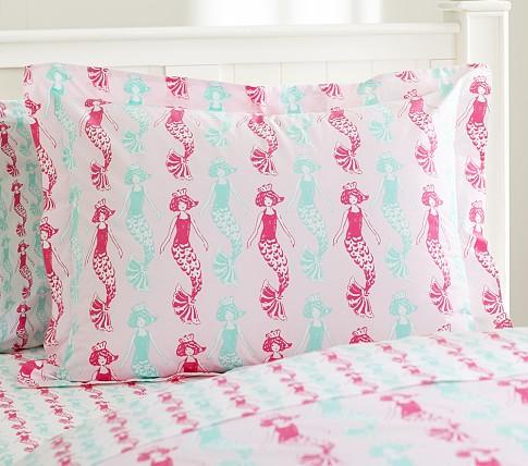 Preppy Mermaid Standard Sham, Pink/Turquoise