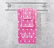 Polka Dot Hand Towel, Bright Pink