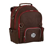 Fairfax Chocolate/Red Large Backpack, Baseball