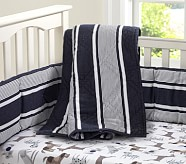 Puppy Nursery Quilt Bedding Set: Toddler Quilt, Crib Skirt & Crib Fitted Sheet, Navy