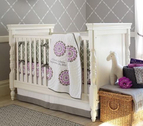 Dahlia Nursery Bedding Set: Crib Fitted Sheet, Toddler Blanket & Crib Skirt, Plum
