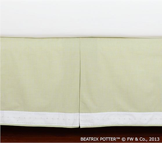 Green Mini Gingham Crib Skirt