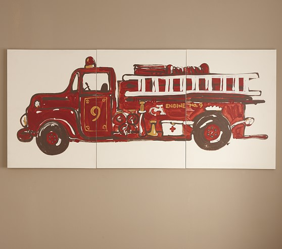 Fire Truck Triptych Art, Set of 3