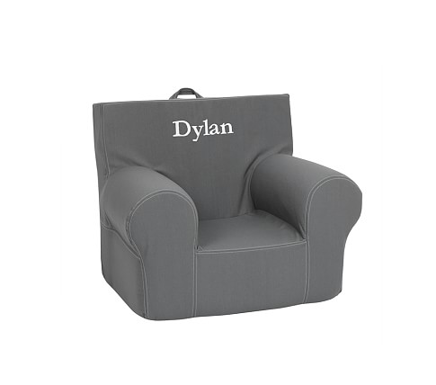 Gray Twill Stitch Anywhere Chair Slipcover