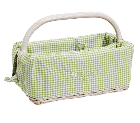 Diaper Caddy Liner, Green Gingham