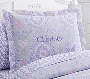 Claudia Medallion Standard Sham, Lavender/Gray