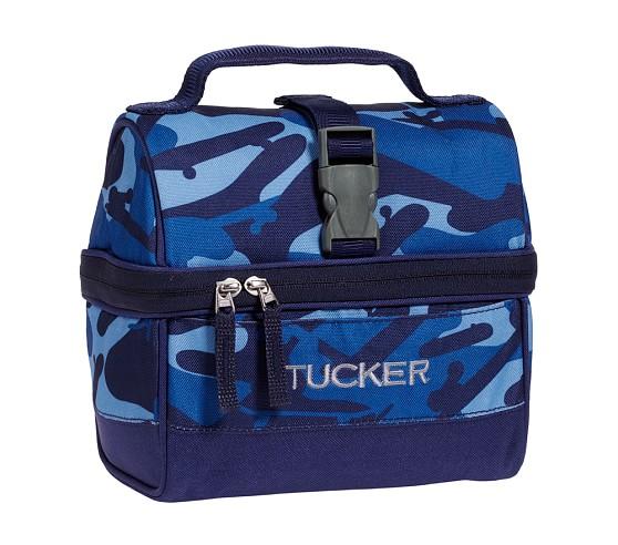Mackenzie Blue Camo Retro Lunch Bag