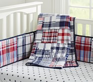 Madras Nursery Quilt, Red/Navy