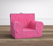 Linen Blend Bright Pink & Blue Piping Anywhere Chair®