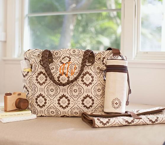 Brown Mosaic Larkspur Diaper Bag