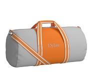 Large Duffle Bag, Fairfax Gray/Orange Stripe, No Patch