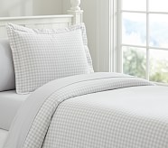 Buffalo Check Flannel Duvet Cover, Full/Queen, Gray