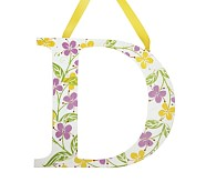 Printed Letter, D, Lavender Hibiscus