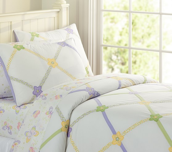 Lindsey Lattice Duvet Cover, Twin, Lavender