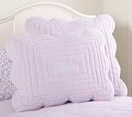 Ruffle Velvet Standard Quilted Sham, Lavender