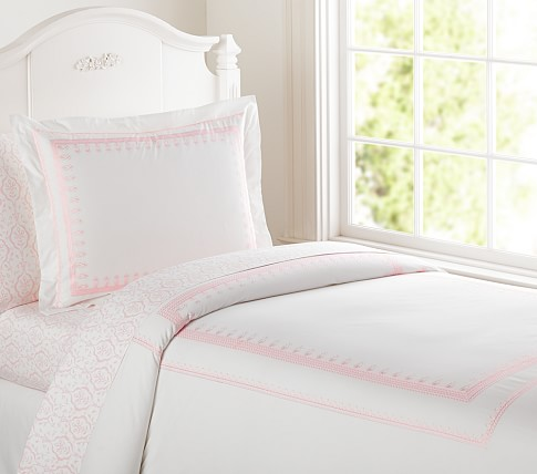 Embroidered Duvet Cover, Twin, Pink