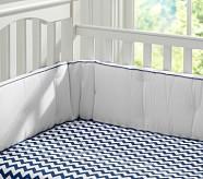 Harper Chevron Nursery Bumper Bedding Set: Crib Skirt, Crib Fitted Sheet & Bumper, Navy