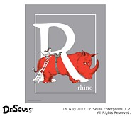 Dr. Seuss™ Alphabet Prints, Letter R, Grey, Rhino