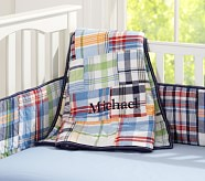 Madras Nursery Quilt, Navy