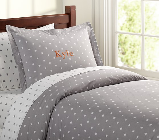 Star Duvet Cover, Twin, Gray
