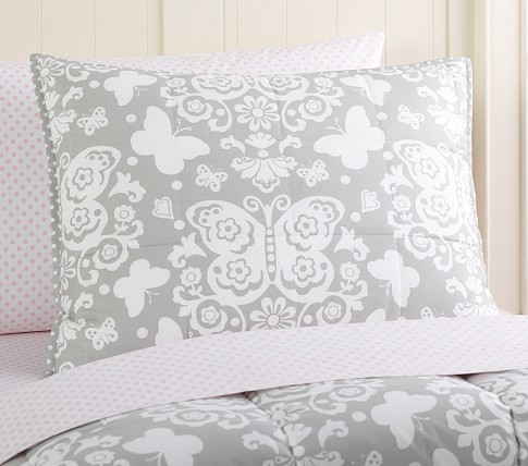 Loft Butterfly Standard Quilted Sham, Gray