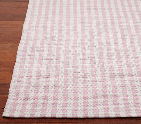 Gingham Chenille Mat 3x5' Pink