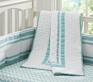 Harper Chevron Nursery Bumper Bedding Set, Aqua