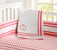 Harper Toddler Quilt, Bright Coral