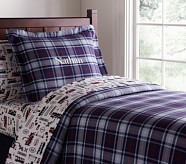Plaid Flannel Duvet Cover, Twin, Red