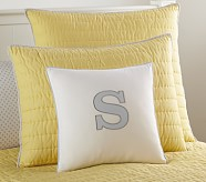 Letter Appliqué Decorative Sham and 16x16 Pillow Insert, Gray Letter