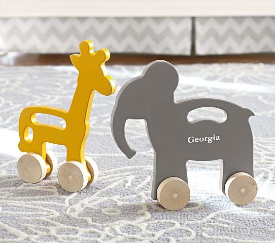 Yellow Giraffe Wood Push Toy