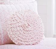 Ruffled Pink Dot Decorative Pillow, Round