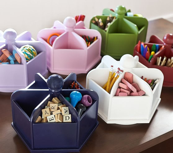 These mini lazy Susans are perfect for organizing school supplies