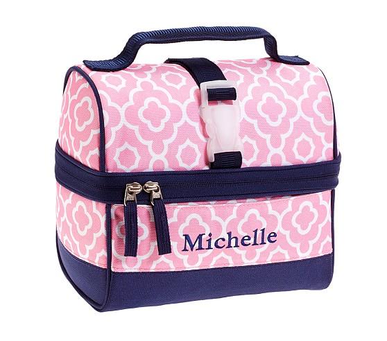 Mackenzie Pink/Navy Geo Retro Lunch Bag