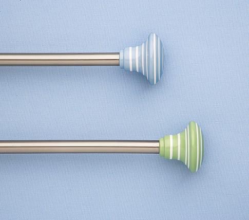 """Small Stripe Hardware, Rod, Small, 28-48"""", Green, Oil Rubbed Bronze"""