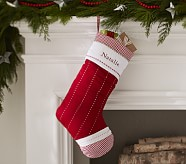 Solid Red Quilted Stocking