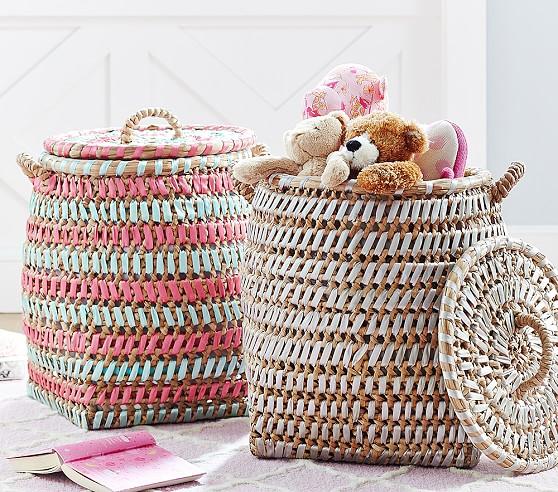 Woven Ribbon Basket, Gray