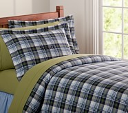 Kingston Plaid Duvet Cover, Twin, Blue/Green
