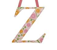 Printed Letter, Z, Orange Floral