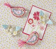 Flower & Bird Magnets, Set of 4
